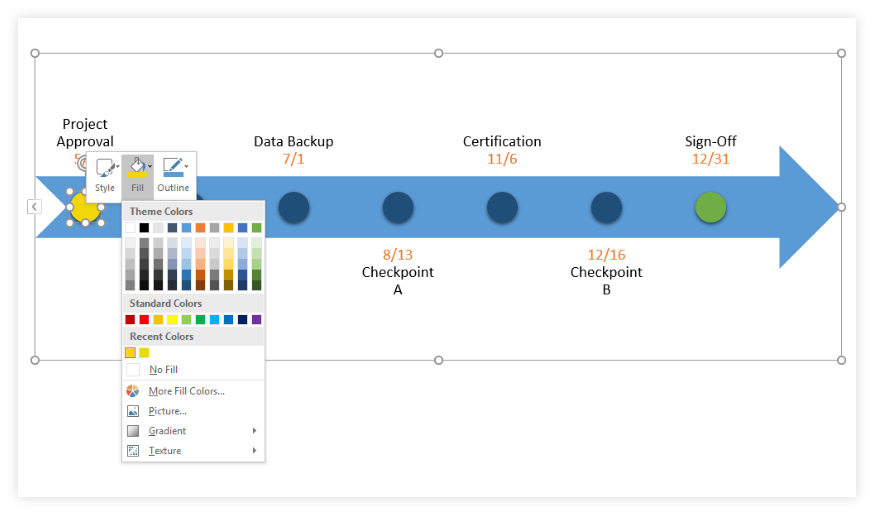 Example Customize Change Color timeline template