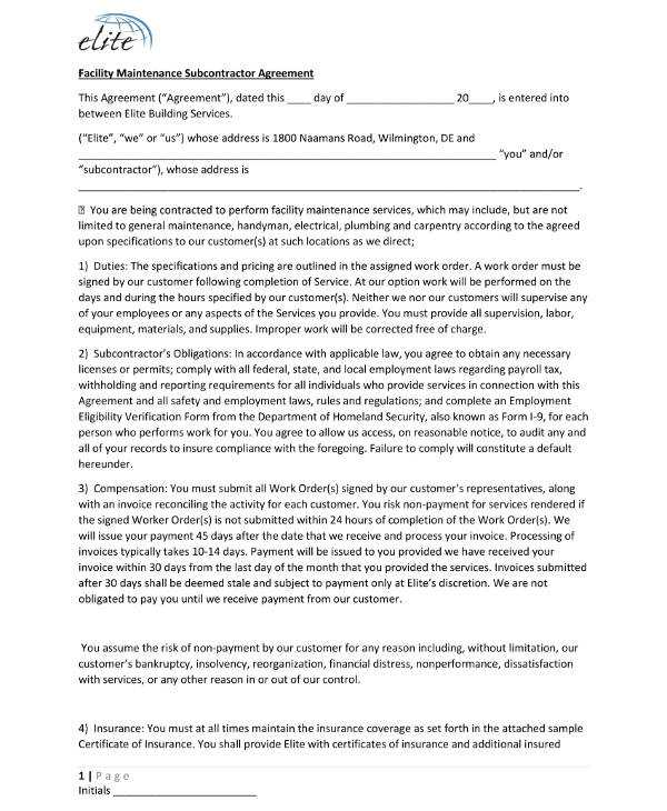 Subcontractor Agreement Templates
