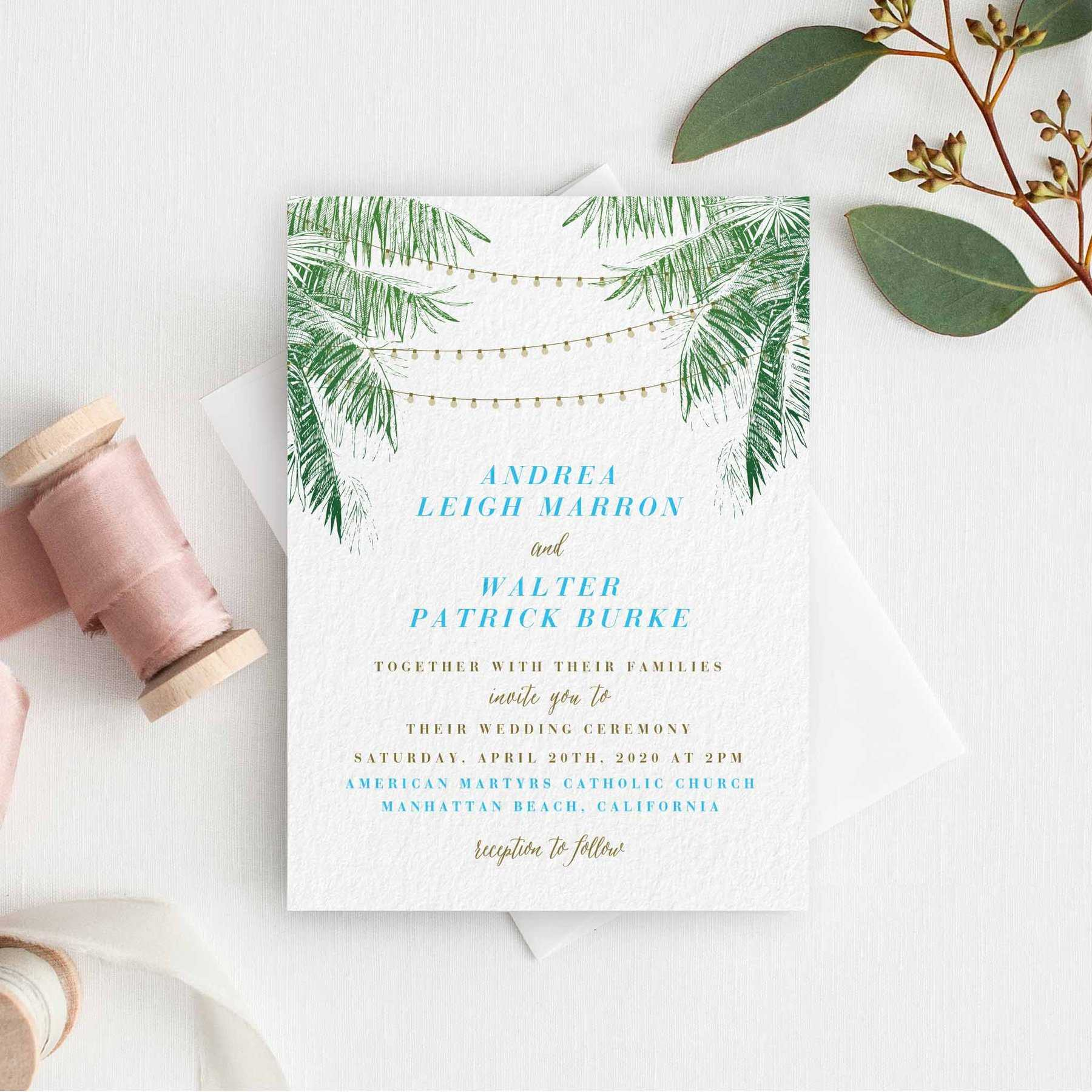 Tropical Palm Tree Leaves Rsvp Template