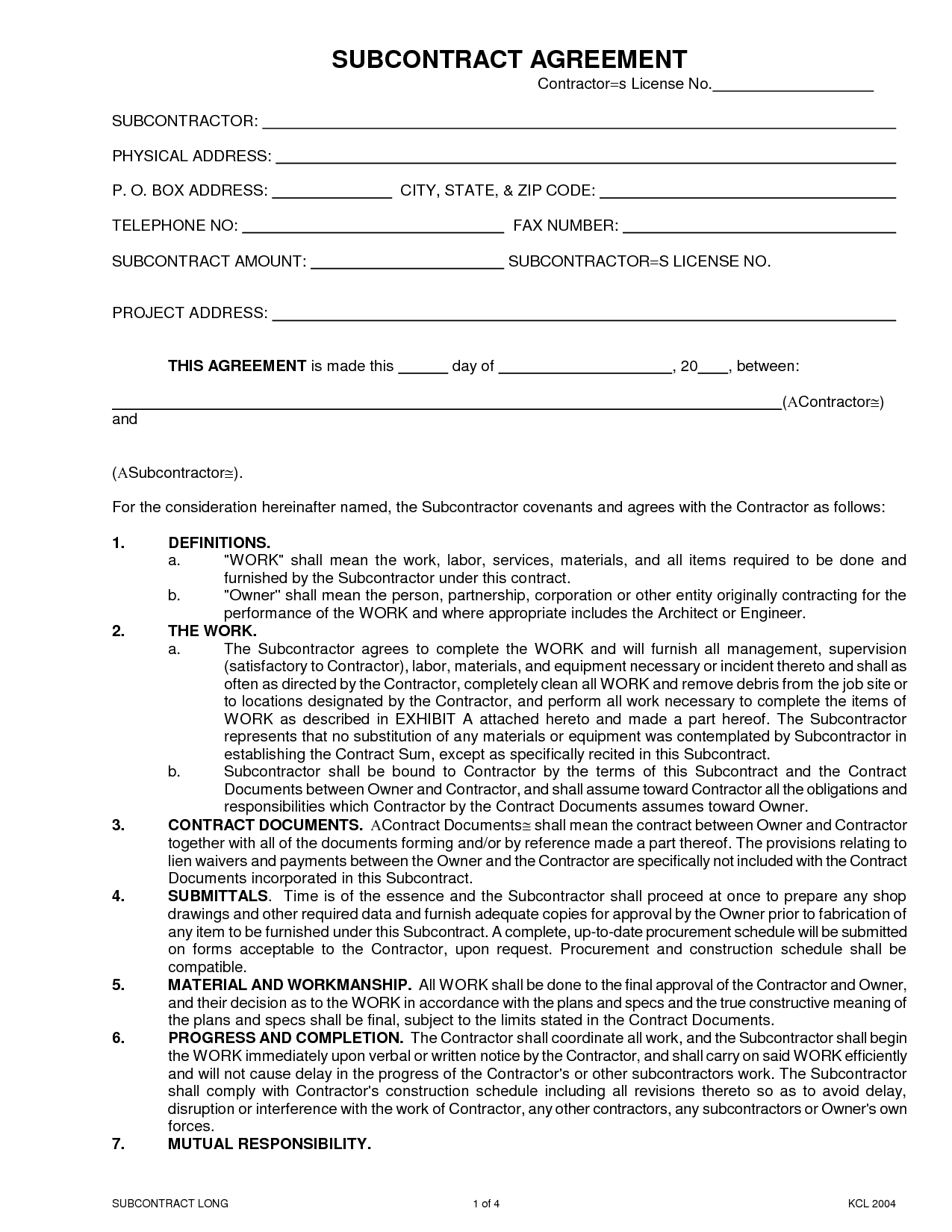 What Should Be Included In A Subcontractor Agreement