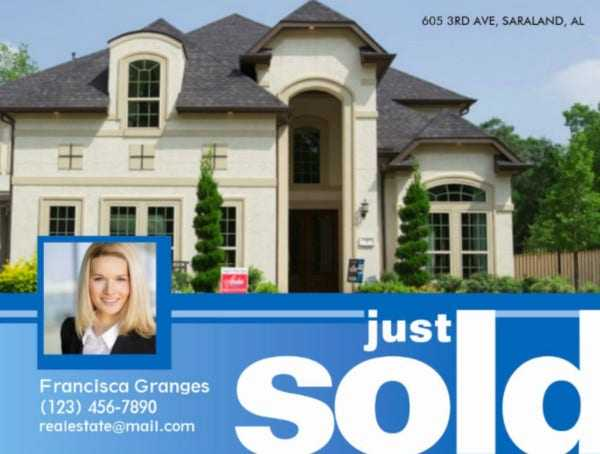 Just sold real estate postcard templates