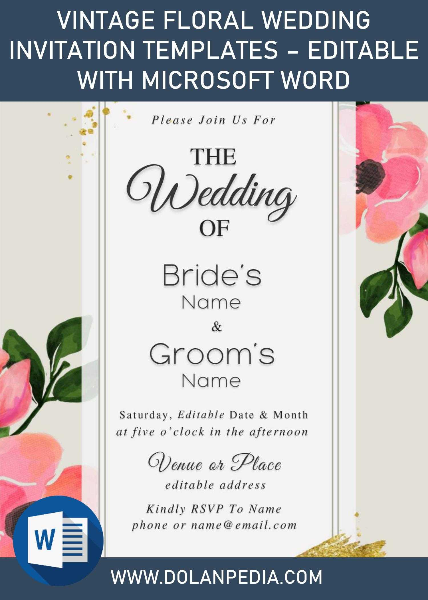 Pink Floral Wedding Rsvp Template for Microsoft Word