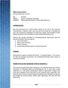 Professional Memo Template Free Ms Word Format