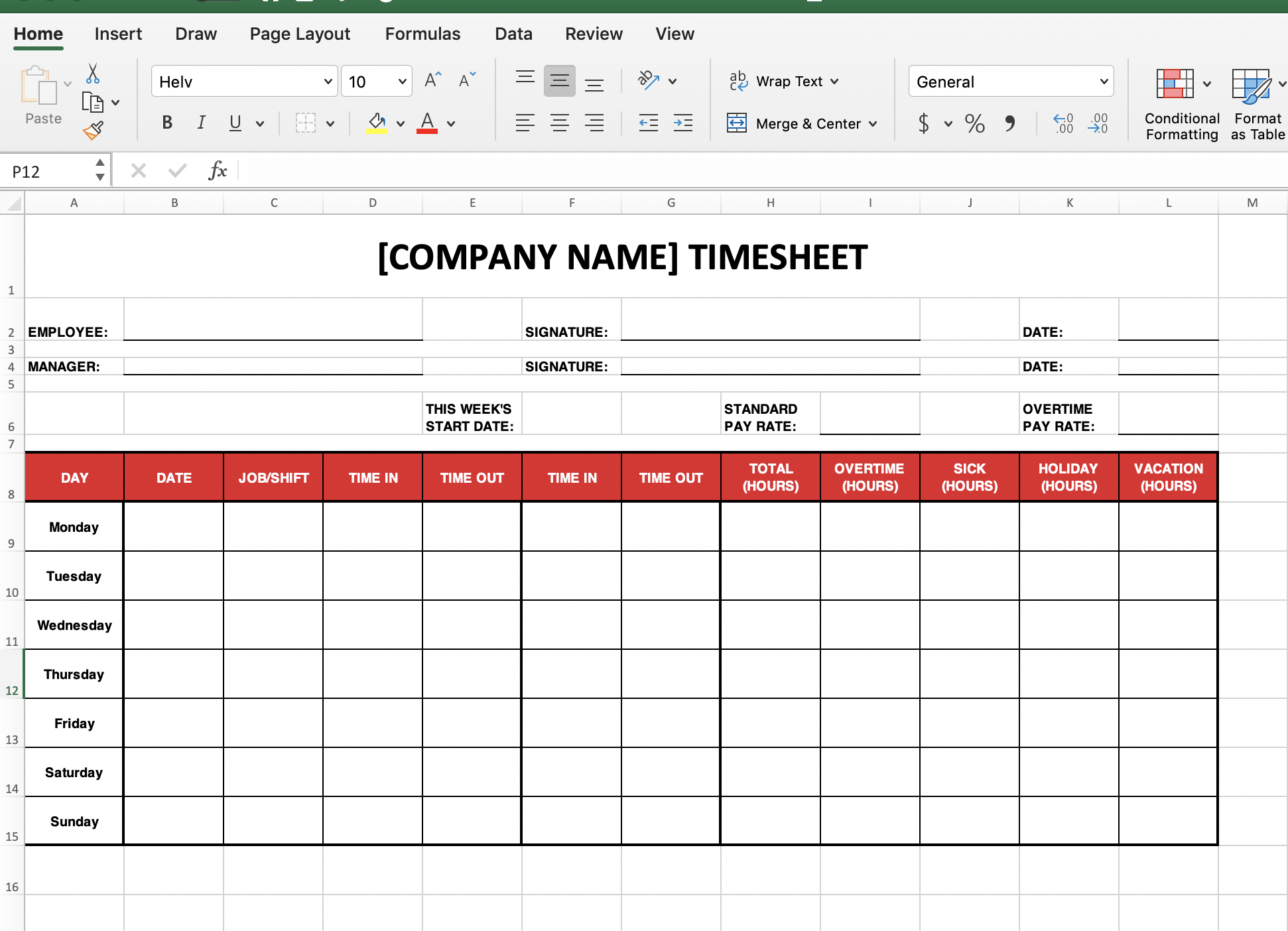 Weekly Time Tracking Templates Excel