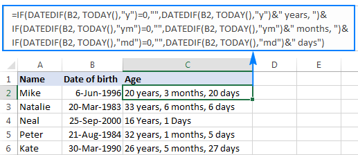age years month days formula