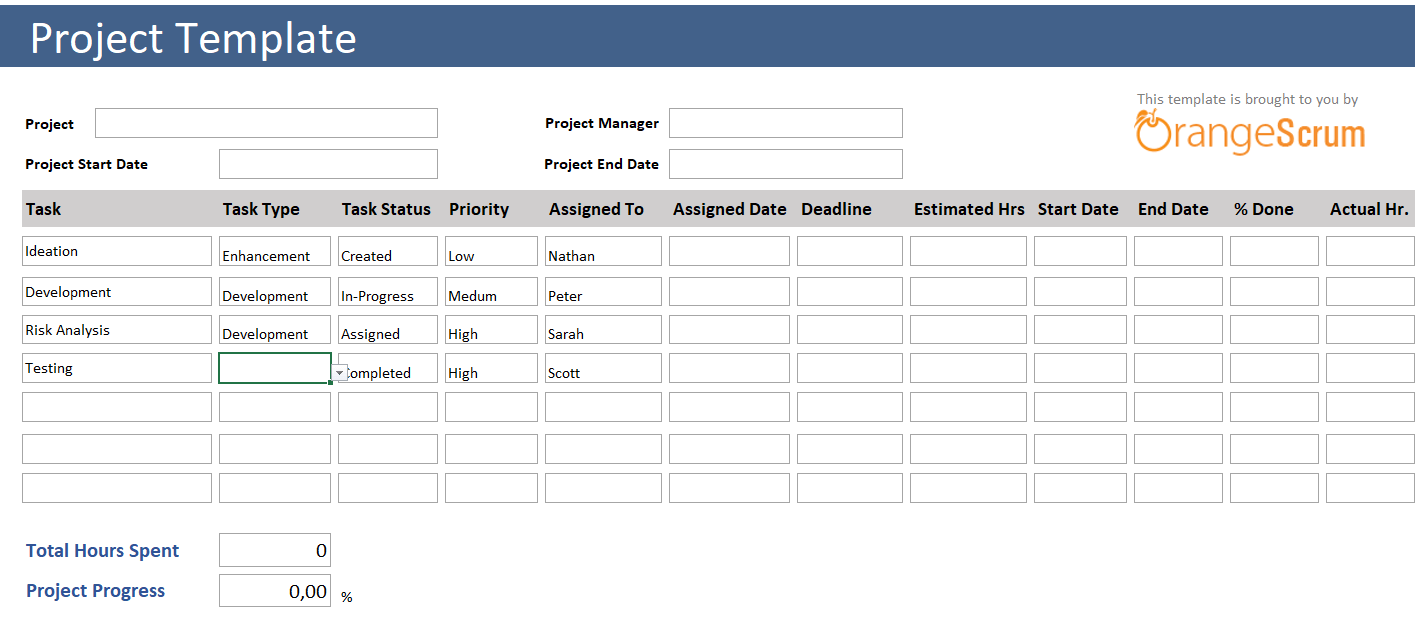 Excel live timesheet template with tasks