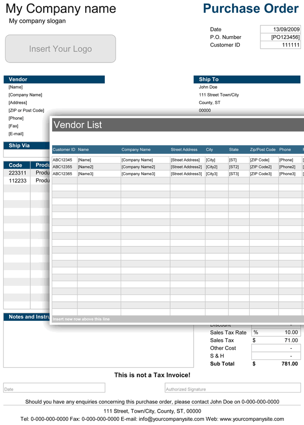 Purchase Order  Accounts Spreadsheet
