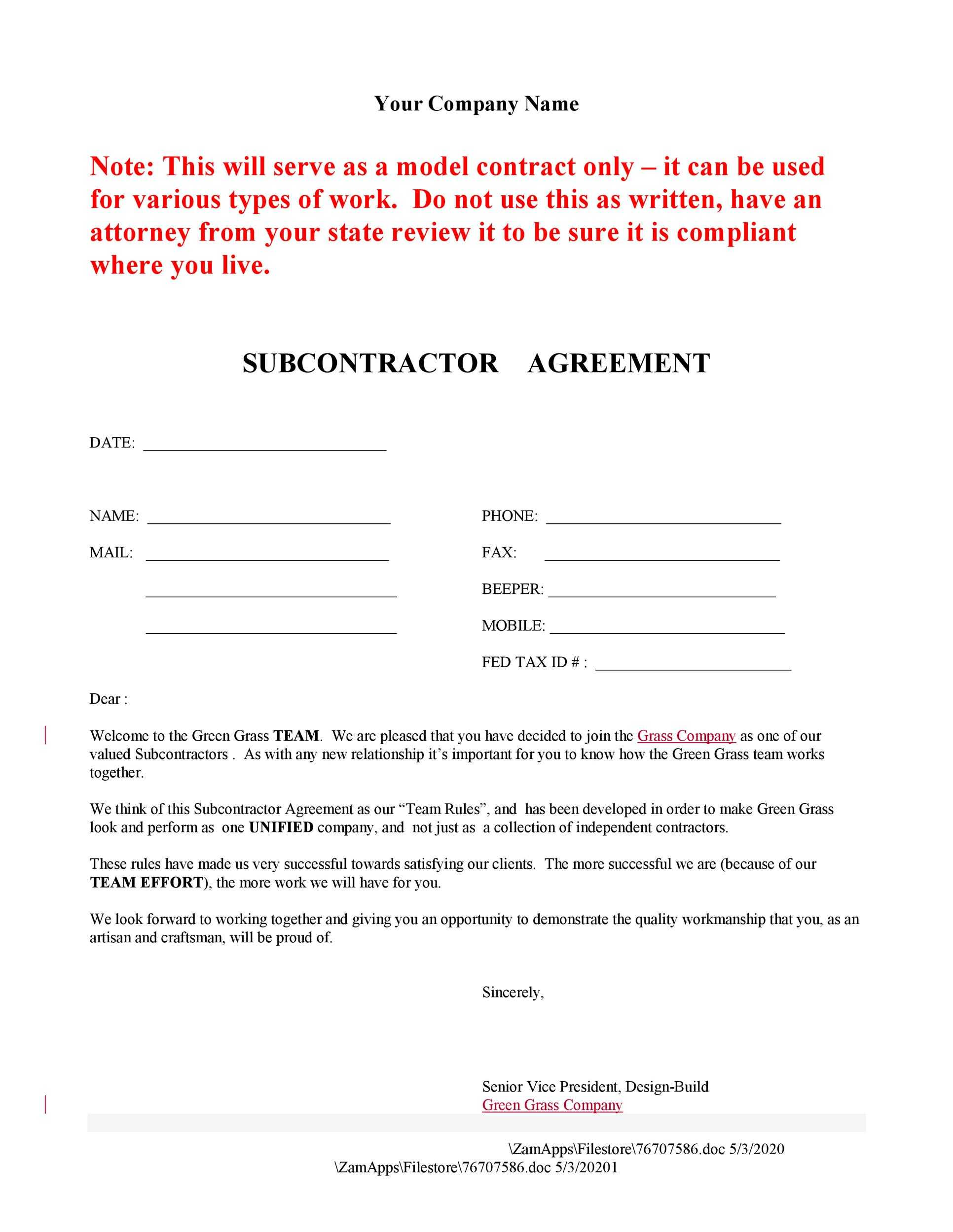 Subcontractor Agreements By State