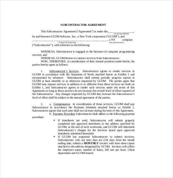 Subcontractor Agreement Samples
