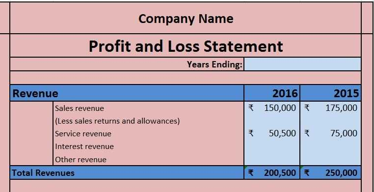 Income Statement Excel Template