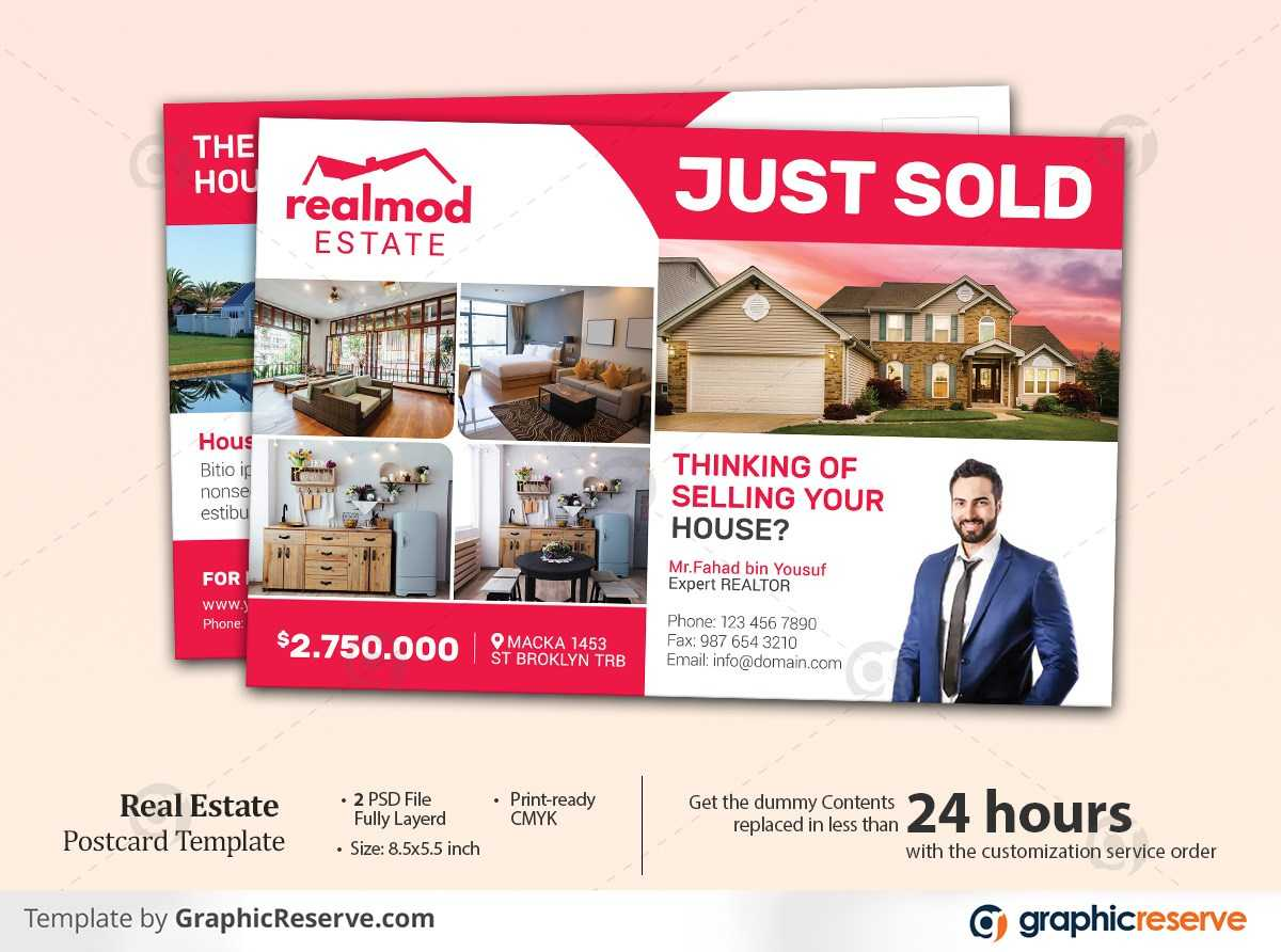 Just listed real estate postcard templates