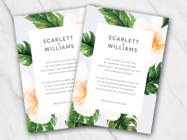 Tropical Green Wedding Rsvp Template for Microsoft Word